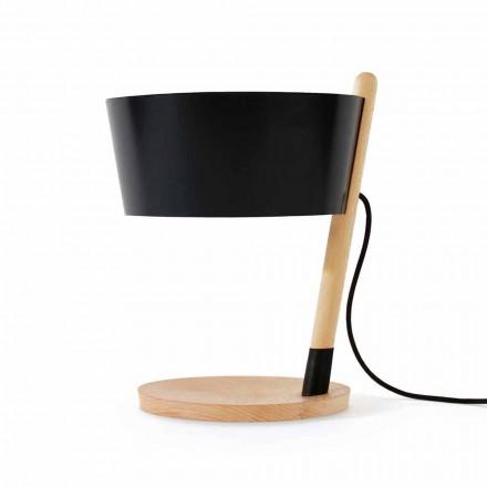 Lampa stołowa z buku z detalami z metalu i wegańskiej skóry - Avetta