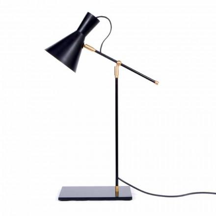 Lampa stołowa z żelaza i aluminium w matowym czarnym kolorze Made in Italy - Malita