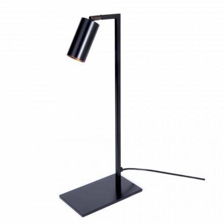 Lampa stołowa z żelaza i matowego czarnego aluminium z diodą LED Made in Italy - Agio