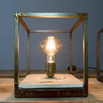 Lampa stołowa z żelaza i ceramiki wykonana ręcznie we Włoszech - Floria