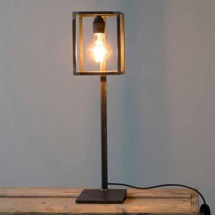 Lampa stołowa z czarnego żelaza z bawełnianym kablem Made in Italy - wyjątkowa