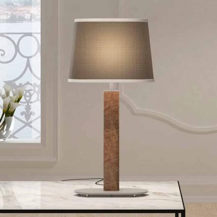 Metalowa lampa stołowa z materiałowym abażurem Made in Italy - Jump