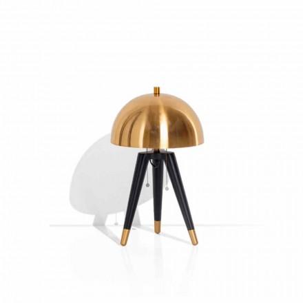Lampa stołowa z czarnego metalu i szczotkowanego mosiądzu Made in Italy - Peter
