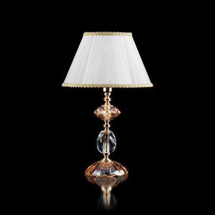 Lampa stołowa klasyczna z szkła i kryształu Belle