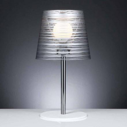 Lampa stołowa z srebrną dekoracją śred. 30 cm Shana
