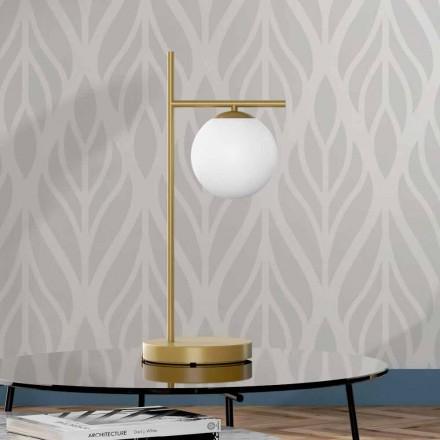 Nowoczesna lampa stołowa z mosiężnym i szklanym wykończeniem Made in Italy - Carima