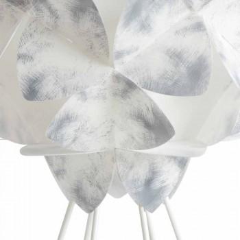 Nowoczesna lampa stołowa z białego metalu, średnica 46 cm, Kaly