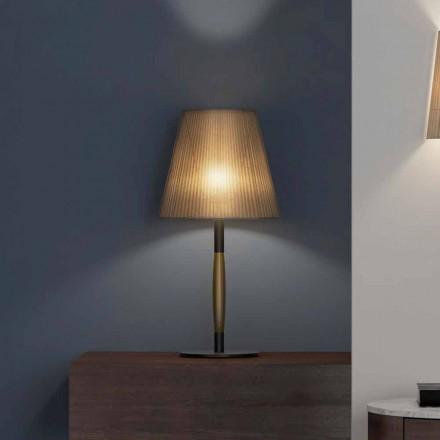 Nowoczesna lampa stołowa z metalu, drewna i organzy Made in Italy - Boom