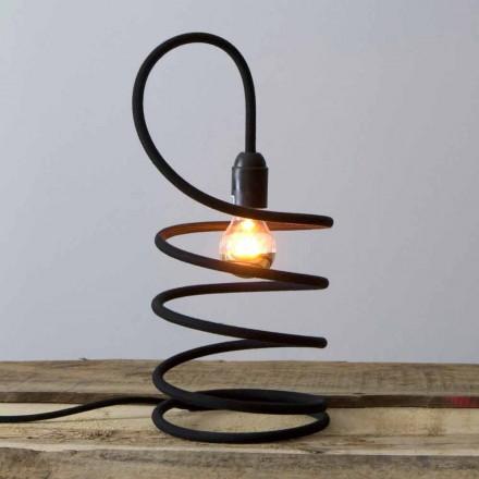 Nowoczesna lampa stołowa z miedzi pokrytej bawełną Made in Italy - Fusilla