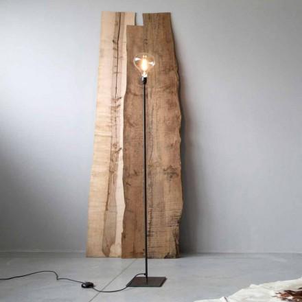 Ręcznie wykonana lampa podłogowa z czarną żelazną konstrukcją Made in Italy - prosta