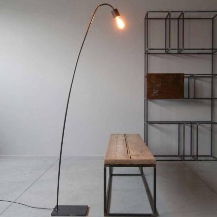 Designerska lampa podłogowa Artisan z czarnego żelaza Made in Italy - Curva