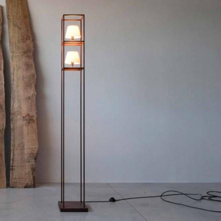 Ręcznie wykonana żelazna lampa podłogowa z wykończeniem Corten Made in Italy - Tower
