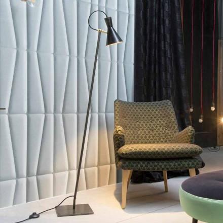 Lampa podłogowa Artisan z czarnego żelaza i aluminium Made in Italy - Brema