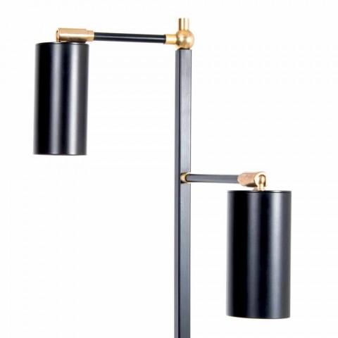 Czarna, ręcznie robiona lampa podłogowa z mosiężnymi detalami Made in Italy - Asterix
