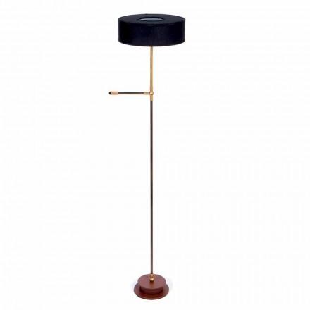 Lampa podłogowa z ręcznie robionym czarnym lnianym abażurem Made in Italy - Aurelia