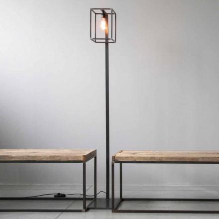 Lampa podłogowa ze strukturą z czarnego żelaza Artisan Made in Italy - Cubola