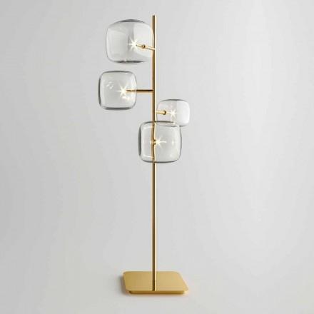 Designerska lampa podłogowa z błyszczącą metalową strukturą Made in Italy - Donatina