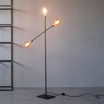 Designerska lampa podłogowa z żelaza z regulowanymi światłami Made in Italy - Melita