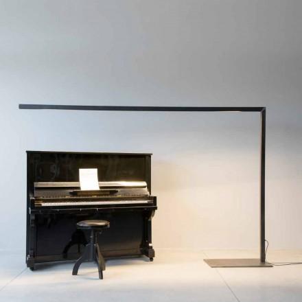 Designerska lampa podłogowa z czarnego żelaza z listwą LED Made in Italy - Barra
