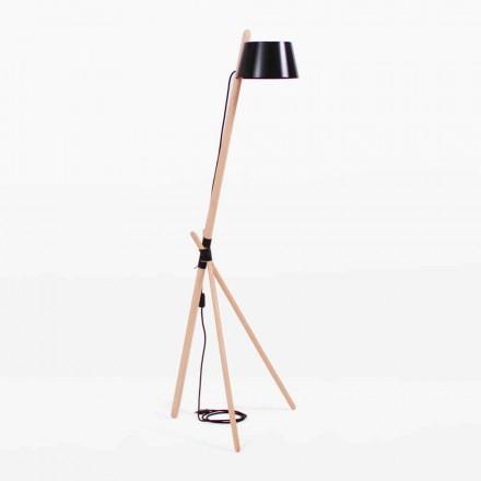 Designerska lampa podłogowa z drewna bukowego i lakierowanego metalu - Avetta
