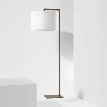 Designerska lampa podłogowa z metalu z lnianym kloszem Made in Italy - Bali