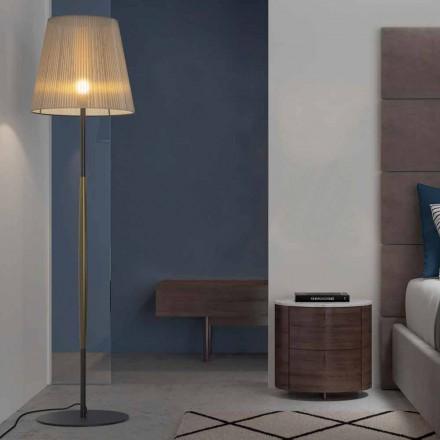 Designerska lampa podłogowa z metalu, drewna i organzy Made in Italy - Boom