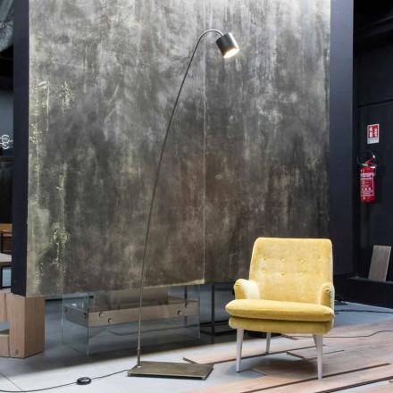 Żelazna lampa podłogowa z aluminiowym kloszem Made in Italy - Alberta