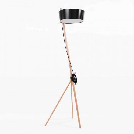 Lampa podłogowa z drewna i metalu z detalami ze skóry wegańskiej - Avetta