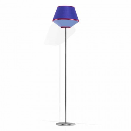 Lampa podłogowa z chromowanego metalu z abażurem z tkaniny Made in Italy - Soya