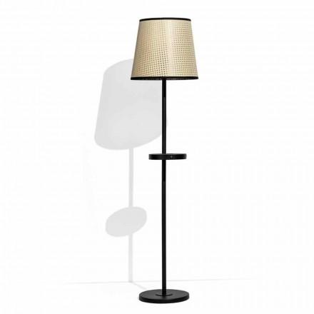 Lampa podłogowa z czarnego metalu i rattanu z półką Made in Italy - Livia