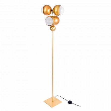 Nowoczesna lampa podłogowa Artisan z mosiądzu i szkła Made in Italy - Gandia