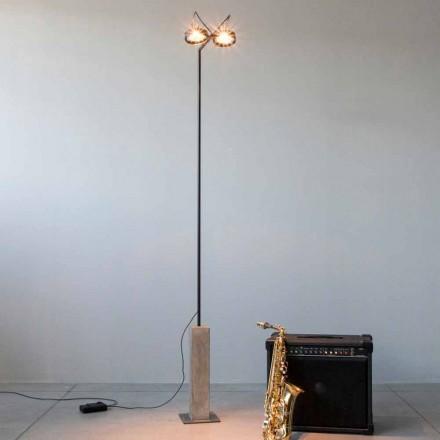 Żelazna lampa podłogowa z cementową podstawą Made in Italy - Wink