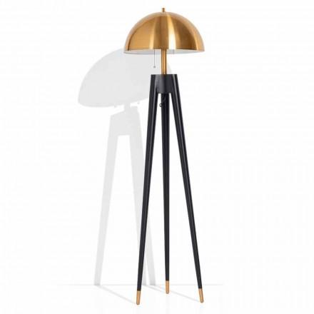 Nowoczesna lampa podłogowa z metalu i szczotkowanego mosiądzu Made in Italy - Peter