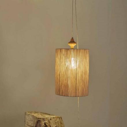 Lampa stojąca z drewna i wełny 100% Bois, kolor piasek
