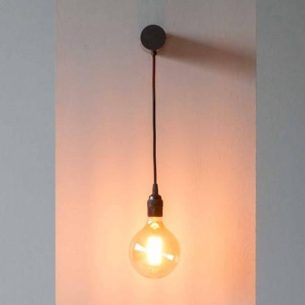 Designerska lampa z czarnego żelaza z bawełnianym kablem Made in Italy - Cladia