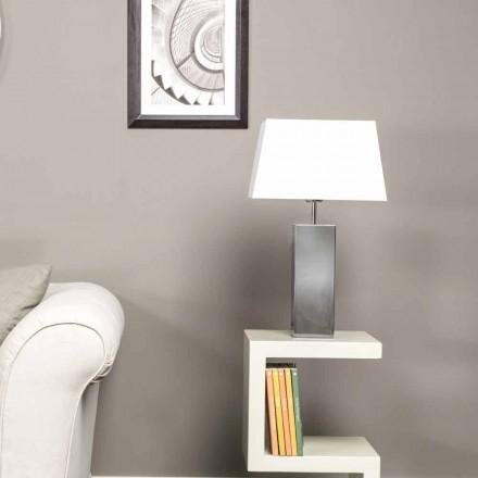 Nowoczesna lampa stołowa ze stali i białym abażurem Renna