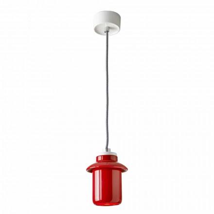 Lampa wzornicza zawieszona na czerwonym ceramice wykonana we Włoszech w Azji