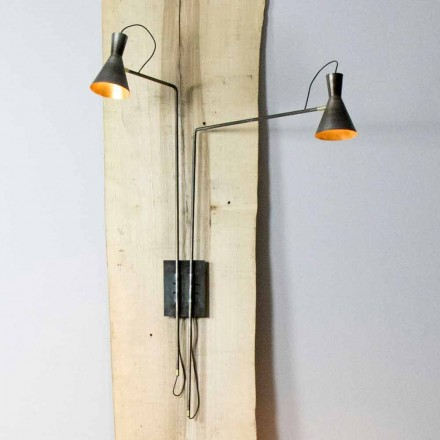 Podwójny kinkiet wykonany ręcznie z żelaza i aluminium Made in Italy - Selina
