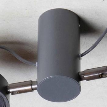 Aluminiowa lampa z 2 regulowanymi światłami, ręcznie wykonana we Włoszech - Gemina