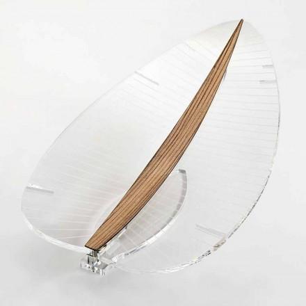 Lampa LED w przezroczystej pleksi, złoto-srebro lub drewno designerskie - Foglialamp