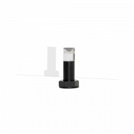 Nowoczesna lampa stołowa z czarnego metalu i pleksi Made in Italy - Dalbo