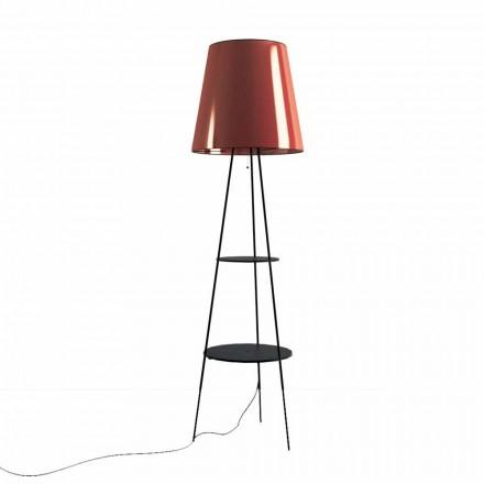 Lampa podłogowa z czarnego i miedzianego metalu z gniazdem USB Made in Italy - Dixie