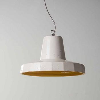 Lampa podwieszana 30 cm, z mosiądzu i majoliki toskańskiej, Rossi Toscot