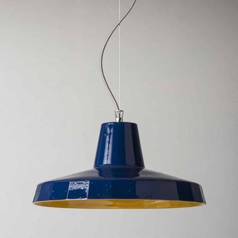 Lampa wisząca 42 cm z mosiądzu i toskańskiej majoliki Rossi - Toscot