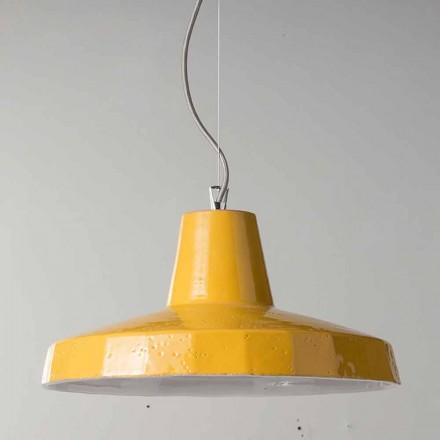 42cm lampa wisząca z mosiądzu i toskańskiej maiolicy Rossi - Toscot
