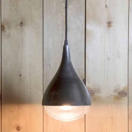 Ręcznie robiona lampa wisząca z aluminium i czarnej bawełny Made in Italy - Sissa