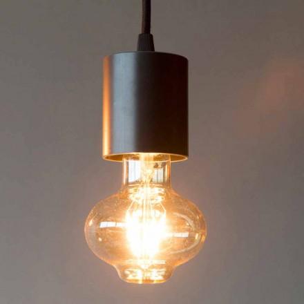 Ręcznie wykonana żelazna lampa wisząca z bawełnianym kablem Made in Italy - Frana
