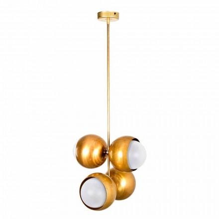 Ręcznie wykonana lampa wisząca z naturalnego mosiądzu i szkła Made in Italy - Gandia