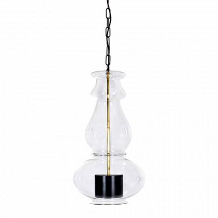 Ręcznie wykonana lampa wisząca z dmuchanego szkła i mosiądzu Made in Italy - Vitrea
