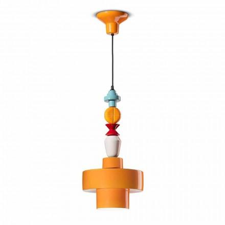 Lampa wisząca Żółta lub zielona ceramika Made in Italy Design - Ferroluce Lariat